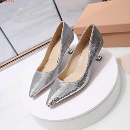 Canada Chaussures habillées pour femmes en paillettes Talon fin, sexy et élégant Mode magnifique Or, argent, noir Numéro de code 34-40 avec une hauteur de 5,5 cm cheap fine gold sequin heels Offre