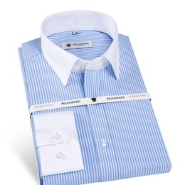 57324381bd2 Men s Stylish Long Sleeve Fine Striped Dress Shirt with Contrast Collar and  Cuffs Male Formal Business Regular-fit Office Shirts  483870