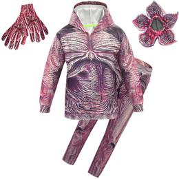 blusas de dança Desconto Traje de Halloween Cosplay Zombie Crianças Paródia Dance Party camisola + calça + luvas + máscara 4 pçs / set Canibal Flor Máscara roupas apertadas M296