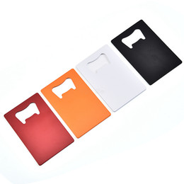 card personalized Promo Codes - Stainless Steel Card Bottle Opener Creative Portable Personalized Credit Card Opener Beer Bar Kitchen Tool 50pcs LJJA2466