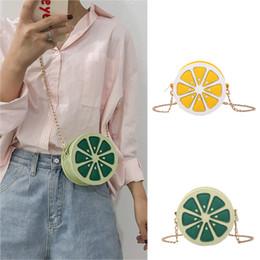 2019 lindos celulares pequeños Mujeres lindas frutas silvestres hombro bolsa de mensajero moda limón naranja pomelo cadena pequeña bolsa redonda bolsillo para teléfono celular # 0816 lindos celulares pequeños baratos