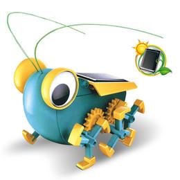 2019 grossi bug robot solare Puzzle per bambini solare Giocattolo fai-da-te scienza sperimentale ed educazione modello building block fatto a mano potere grande occhio bug grossi bug economici