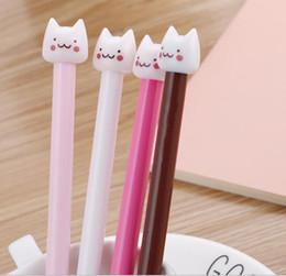 joli stylo gel coloré Promotion Stylo de gel-encre coloré style cartoon chat animal mis kawaii coréen papeterie fournitures de bureau école stylo gel 60pcs / lot WL178