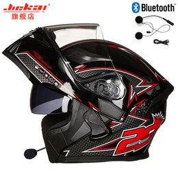 double flip motorcycle helmet Promo Codes - Motorcycle Bluetooth Helmet Flip up Motocicleta BT Casco Moto Double Visors Casque Motor bike Capacete DOT