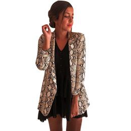 Abrigo de serpiente online-Blazer para mujer, traje de manga larga con estampado de serpiente Blazer Biker Jacket Outwear Tops Blazer Feminino Mujer Blazers y chaquetas C18122401