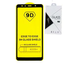 Verre trempé samsung galaxy retail en Ligne-Paquet au détail Protecteur d'écran en verre trempé à couverture totale 6D 9D AB colle bord à bord pour Samsung Galaxy S7 M10 J8 J8 PLUS A8S A30 A50 100p
