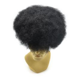 Fransız Dantel Dantel ön PU geri Bankası Afro erkek Peruk Postiş Hint Remy İnsan Saç Afro Curl Postiş Siyah Erkekler için 8x10 inç supplier curling indian remy hair nereden kıvırcık indian remy saç tedarikçiler
