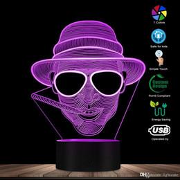 führte höhlenlampe Rabatt Steampunk Mann in Hut 3D-Täuschungs-Nachttischlampe Rauchen Gentleman glühende LED-Leuchten Zigarre Smoking Man Portrait Cave Lampe