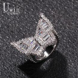 anéis de dedo antigos Desconto Uwin Borboleta CZ Anéis Micro Pavimentada Full Bling Iced Out Cubic Zircon Luxo Moda Hiphop Presente Da Jóia
