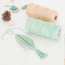 Três milímetros de fio de algodão colorido corda corda bege cadeia macrame artesanato trançado 100% DIY Têxtil casa casamento fornecimento decorativo de