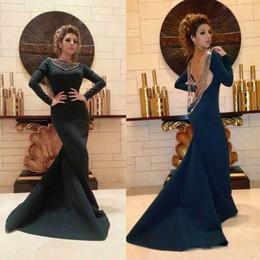 Robes de soirée en soirée en Ligne-Bleu marine sirène robes de soirée sexy 2019 nouveau dos ouvert avec des perles à manches longues en jersey longue arabe Pageant robes de bal