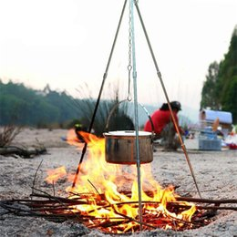Trípodes de aluminio online-Colgante Olla Lampstand Campamento Cocina Instrumento Trípode Soporte exterior Aleación de aluminio Picnic Hacer Fuego Hoguera Desmontable Portátil 34 hmf1