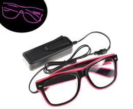 Светящиеся солнечные очки онлайн-Светодиодные игрушки EL Light Up Проволочные очки для вечеринки Концертная мода Неоновые светодиодные лампы Up Glow Солнцезащитные очки Party DJ Bright SunGlasses