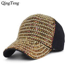 swag hats Coupons - Gold Bling Baseball Cap Women Luxury Pearls Rhinestones Womens Baseball Hats Swag Fashion Cap Female Summer Casual Sun Hat