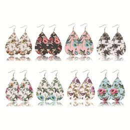 earrings for girls double sided Promo Codes - Christmas Gift water droplet-like sweet floral printed double-sided composite PU leather Earrings Fashion Dangle Earrings for Women FJ431