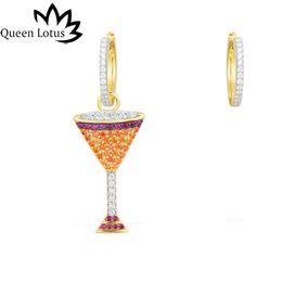 Boucles d'oreilles à vin en Ligne-2019 New Wine Glass Earrings Femmes Mode Boucles D'oreilles Bijoux Zircon Bijoux De Mode Asymétrie