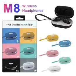 Multi auricolari online-Stereo nuova M8 TWS senza fili Bluetooth auricolare Multi-Color I veri fili Handsfree Mic Cuffie auricolari sportivi con ricarica caso scatola al minuto