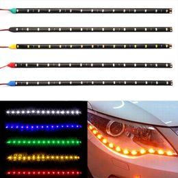2019 lumières de voiture menées 30cm Voiture LED Bande Lumière Haute Puissance 12V 15SMD Voiture DRL Lampe Étanche LED Flexible Jour Lumière Décorative Car-Styling promotion lumières de voiture menées