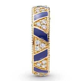 2019 blaue stein silberne schmucksachen Neue Original 925 Sterling Silber Ring Golden Shine Steine Und Streifen Ring Blau Emaille Für Frauen Hochzeitsgeschenk Edlen Europa Schmuck günstig blaue stein silberne schmucksachen