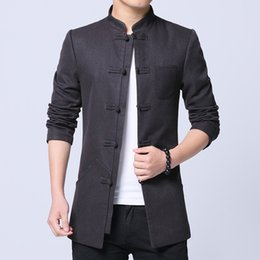 cotton tang jacket Promo Codes - Chinese Style Clothes 2019 Spring New Solid Ancient Tang Suit Jacket Men Cotton Comfortable Fabric Mens Jackets and Coats