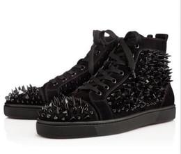 Pisos de color rojo oscuro online-Dark horse Nail PIK Luxury Red Bottom Sneakers Hightop shoes pik pik spikes flat shoes Alta calidad Suede Sale765