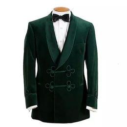Chaqueta de terciopelo de los hombres online-2019 estilo casual cazador de terciopelo verde para hombres trajes solapa de dos botones Blazer Boda Tuxedos por encargo chaqueta de la capa