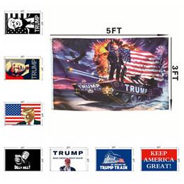 Aufkleber banner online-3 * 5FT Donald Trump Flagge 2020 Amerika Präsident Wahl Banner Trump Auto Aufkleber Werbung Flagge Exquisite Aufkleber HHA328