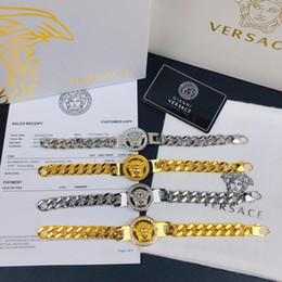 Scatole di gioielli in pelle per le donne online-2018 Nuovo marchio di moda gioielli in acciaio inossidabile di lusso bracciali braccialetti pulseiras bracciali in pelle per uomo donna regalo con scatola jao88a