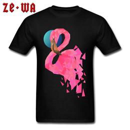 Personalisierte pullover baumwolle online-Männer T-shirt 2018 100% Baumwolle T-Shirts Personalisierte T-Shirts Geometrische Flamingo-Rundhals-T-Shirts Sommer Tops Kurzarm Pullover