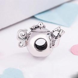 corazon rosa pandora encantos colgantes Rebajas Nuevo 100% 925 encantos de la plata esterlina del pote del té, los granos cristalinos claros del encanto cupieron los accesorios de la joyería de Diy de los encantos de Pandora