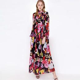 Vestido maxi com estampa de flores on-line-2019 Mulheres Runway Vestidos Bow Collar Mangas Compridas Floral Impresso Cintura Elástica Elegante Maxi Longos Vestidos Casuais