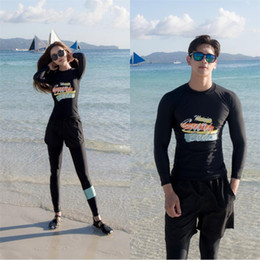 full body swimsuit women Promo Codes - Korean style black sport swimsuit couples fashion men and women swimwear surfing swimming costume full body UV bathing suit