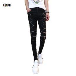 2019 botón negro noche Idopy Fashion Slim Fit Pants Punk Style Patchwork negro Cremalleras de cuero Dance Night Club Gothic Button Jeans Pantalón para hombres botón negro noche baratos