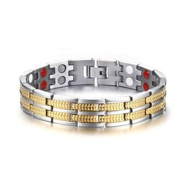 negative plate Coupons - Fashion Simple Men's Negative Ion Magnet Bangle Stainless Steel Gemstone Bracelet Watchband Jewelry Gift for Men Boys J028