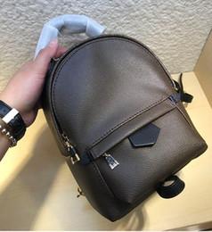 2019 silber metallic farbe schultertasche Echtes Leder-Qualitäts-Frauen Palm Springs Rucksack Tasche Marke Kinder Rucksäcke Umhängetasche Mini Rucksack