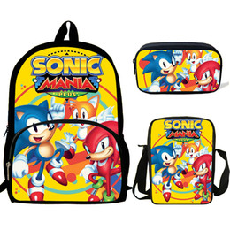 Sonic Mania Backpack Kids School Bag Set Insulated Lunch Bag Pen Case Lot