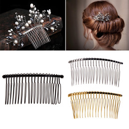 tooth hair clip Promo Codes - 2017 Fashion DIY Blank Metal Hair Clips Wedding Veil Side Comb 20 Teeth Bridal Hair Accessories Hot NOV9_15