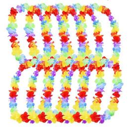 Diy hawaii online-200 Unids / lote Flor de Hawai leis Garland Collar fiesta de la selva de cumpleaños evento evento Decoración hawaii decoraciones del partido Flores DIY Corona