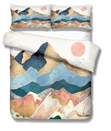 Горный постер из четырех частей постельного белья Роскошный набор стеганое одеяло цветок 100% хлопок постельное белье Постельное белье Outlet Life постельного белья Новый дизайн от