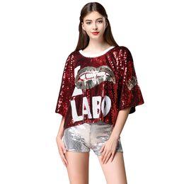 Sequin-T-Shirt Jazz-Tanz-Abnutzungs Hip Hop Street Dance Kostüme Stage Club-lose T-Shirt von Fabrikanten