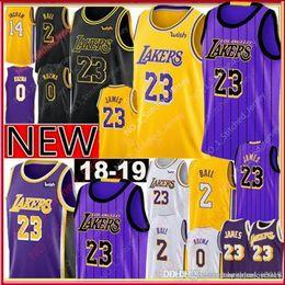 ccc9549aa 23 LeBron James Lakers 2019 Los Angeles James Jersey New 2 Lonzo   Ball 0  Kyle   Kuzma 14 Brandon   Ingram Jerseys