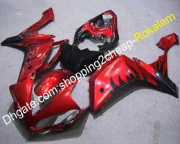 2020 carenados personalizados r1 2007 2008 YZF-R1 Fashion Fairing para Yamaha 07 08 YZFR1 YZF R1 YZFR1000 Negro Llama Cuerpo rojo Carenados ABS personalizados (moldeo por inyección) rebajas carenados personalizados r1