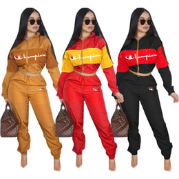 women gym clothes winter Coupons - Women Tracksuit Champion Letter Print Long Sleeve Crop Top + Pants Leggings 2PCS Set zipper jacket Sportswear Clothing Suit gym outfit