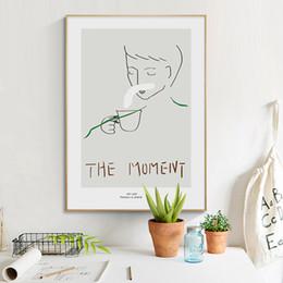 Esboços de fotos on-line-Retrato moderno Esboço Boy Wall Art Canvas do poster da Nordic Estilo Posters e impressões Sala parede Imagem Decoração Moderna