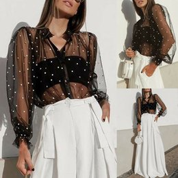 Camiseta de lunares online-Mesh Top Polka Dot T Shirt Women Puff Sleeve T-Shirts Sexy See-through Black Transparent Tees Beach Tops Mesh tshirt