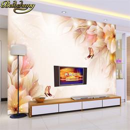 Papel tapiz para habitaciones de hotel online-Decoración para el hogar Papel de pared de flores de fantasía 3D Hotel TV Fondo Moderno Mural para la sala Murales De Pared 3d Wallpaper