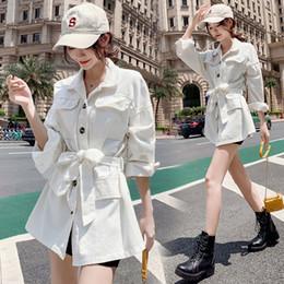xs mujer abrigo largo coreano Rebajas 2019 nuevo cinturón de cintura coreano abrigo largo de mezclilla chaqueta rompevientos chaqueta de mujer MW3061