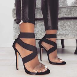 große elastische schuhe Rabatt Frauen Sandalen Schuhe sexy elastische gekreuzte transparente offene Spitze 11,5 cm High Heels Schuhe Größe 35-43 3 Farben Partei Pumpen