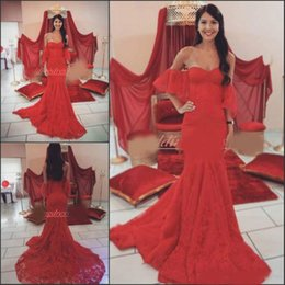 concurso de ropas Rebajas Impresionantes vestidos de noche de encaje de color rojo con forma de sirena, con tope, hombros cortos, vestido de desfile, tallas grandes, vestidos de fiesta, fiesta formal formal