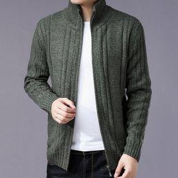 f9f7e8391b8 2019 Autumn Winter Zipper Knitted Cardigans Mens Cardigan Sweater Slim Fit Zipper  Male Sweaters Cardigan For Men Knitted